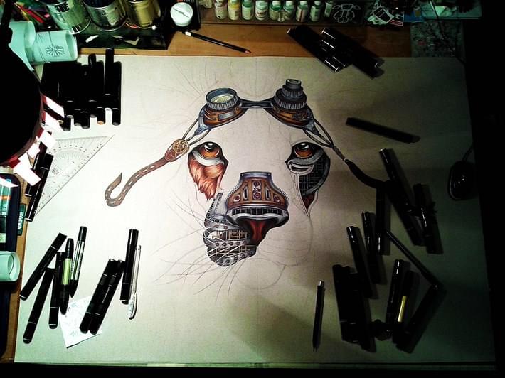 Steampunk_Lion_Drawing_by_Paula_Duta