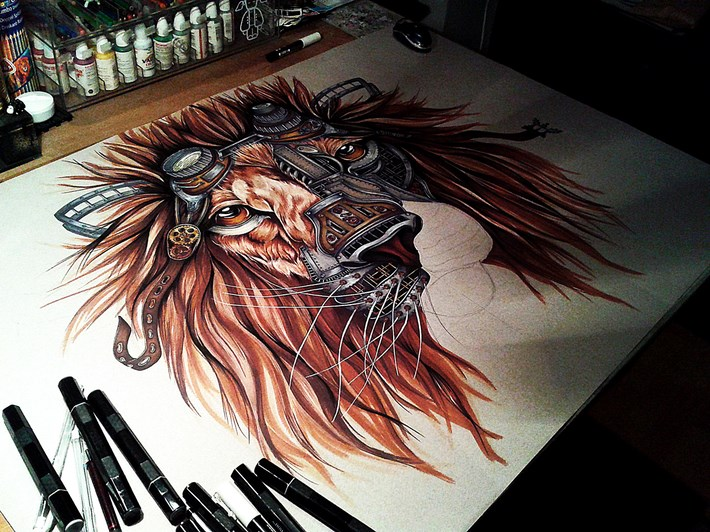 Steampunk Lion Drawing by Paula Duta