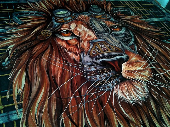 Steampunk_Lion_Drawing_by_Paula_Duta