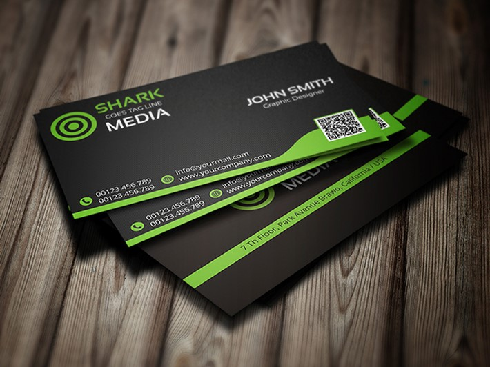 Black U0026 Green Business Card