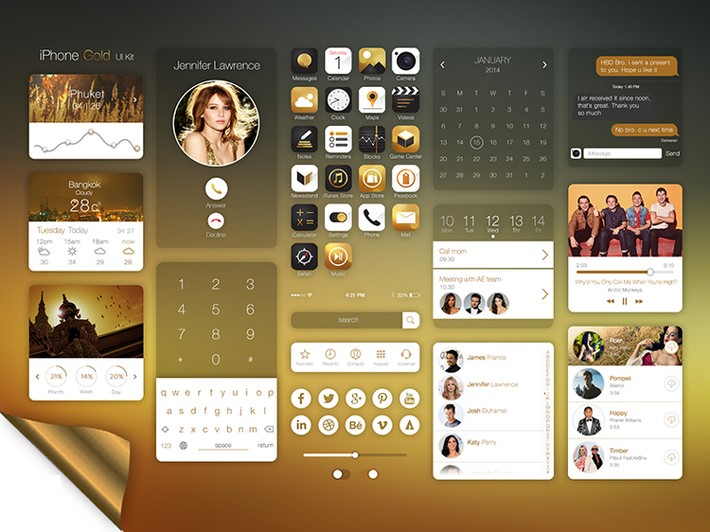 IPhone-Gold-UI-Kit