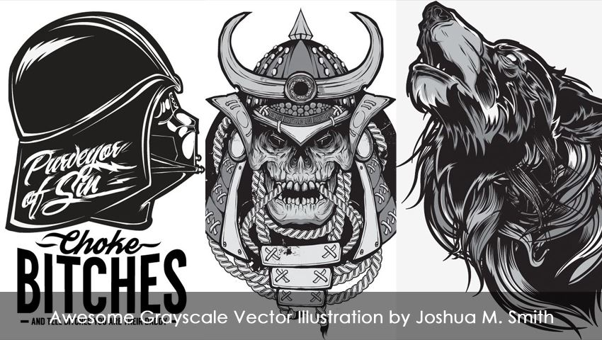 Awesome Grayscale Vector Illustration by Joshua M. Smith