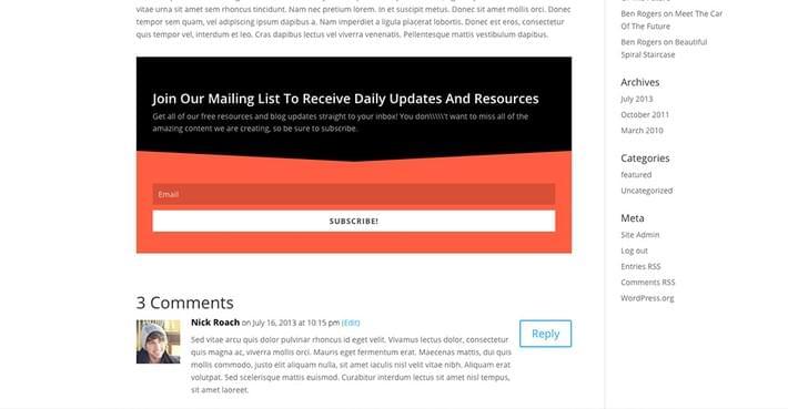 email opt-in plugin bloom Below Post