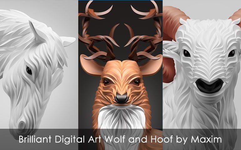 Brilliant Digital Art Wolf and Hoof by Maxim Shkret