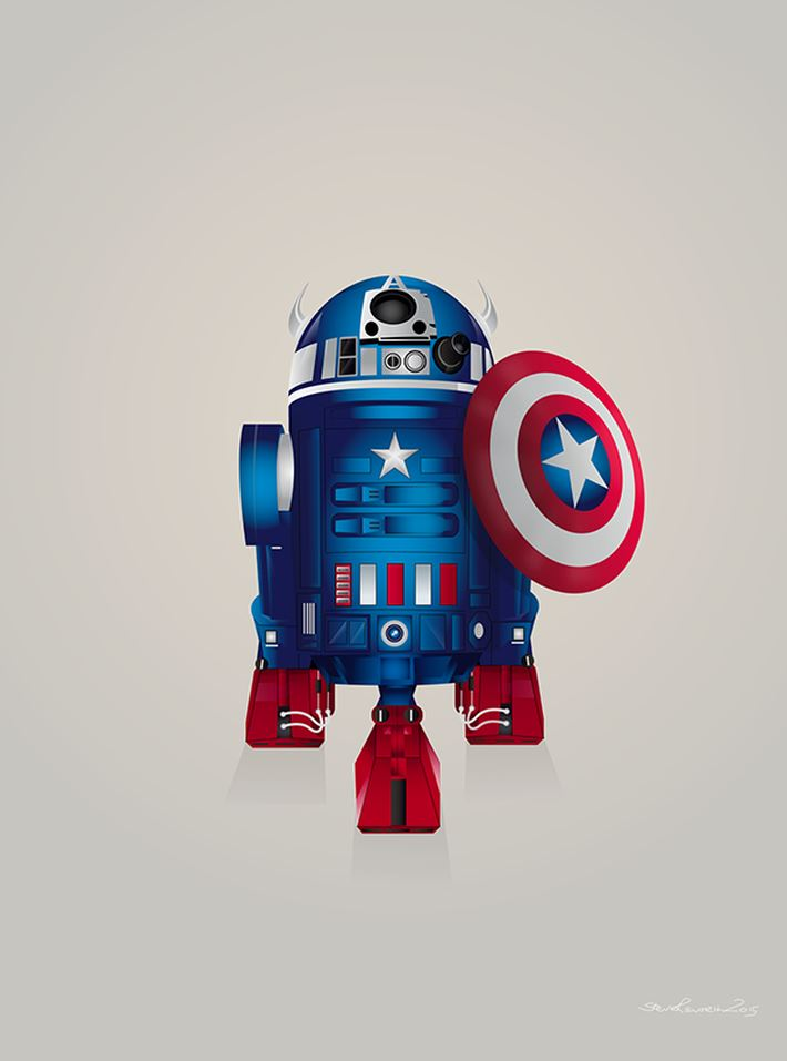 Droid R2-D2 Captain America Digital Art