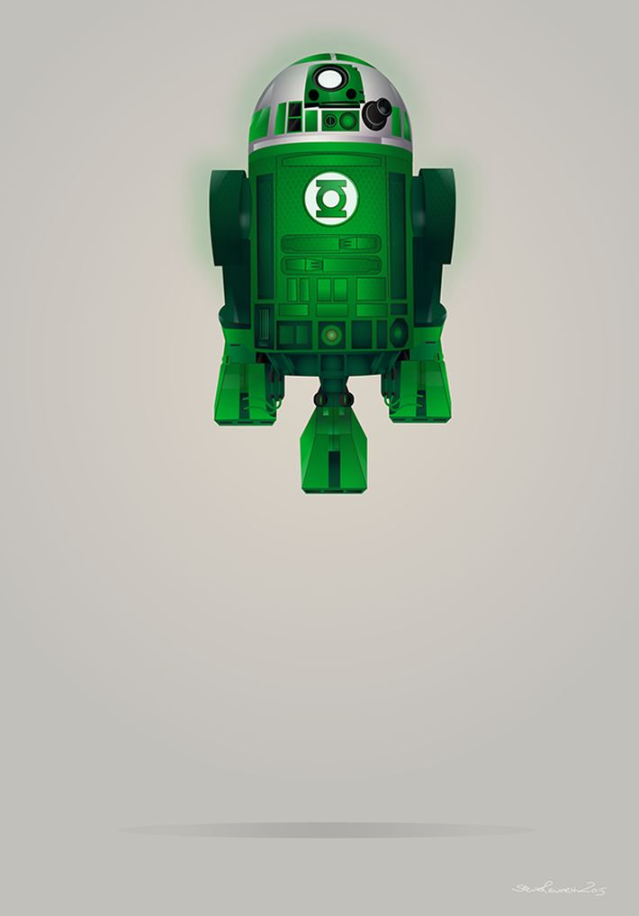 Droid Green Lantern R2-D2 Digital Art