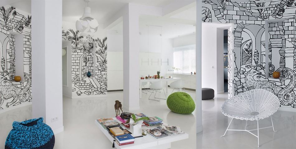 creative wall mural that enhanced your apartment interior