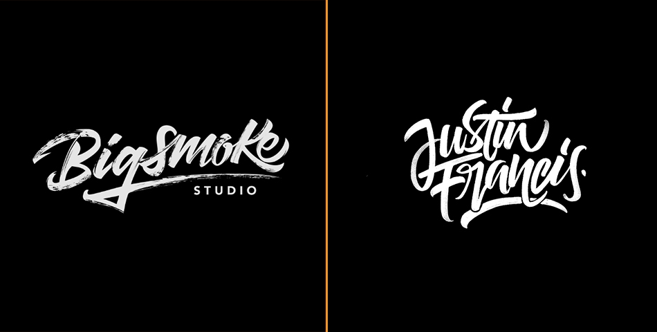 Simple hand lettering logos