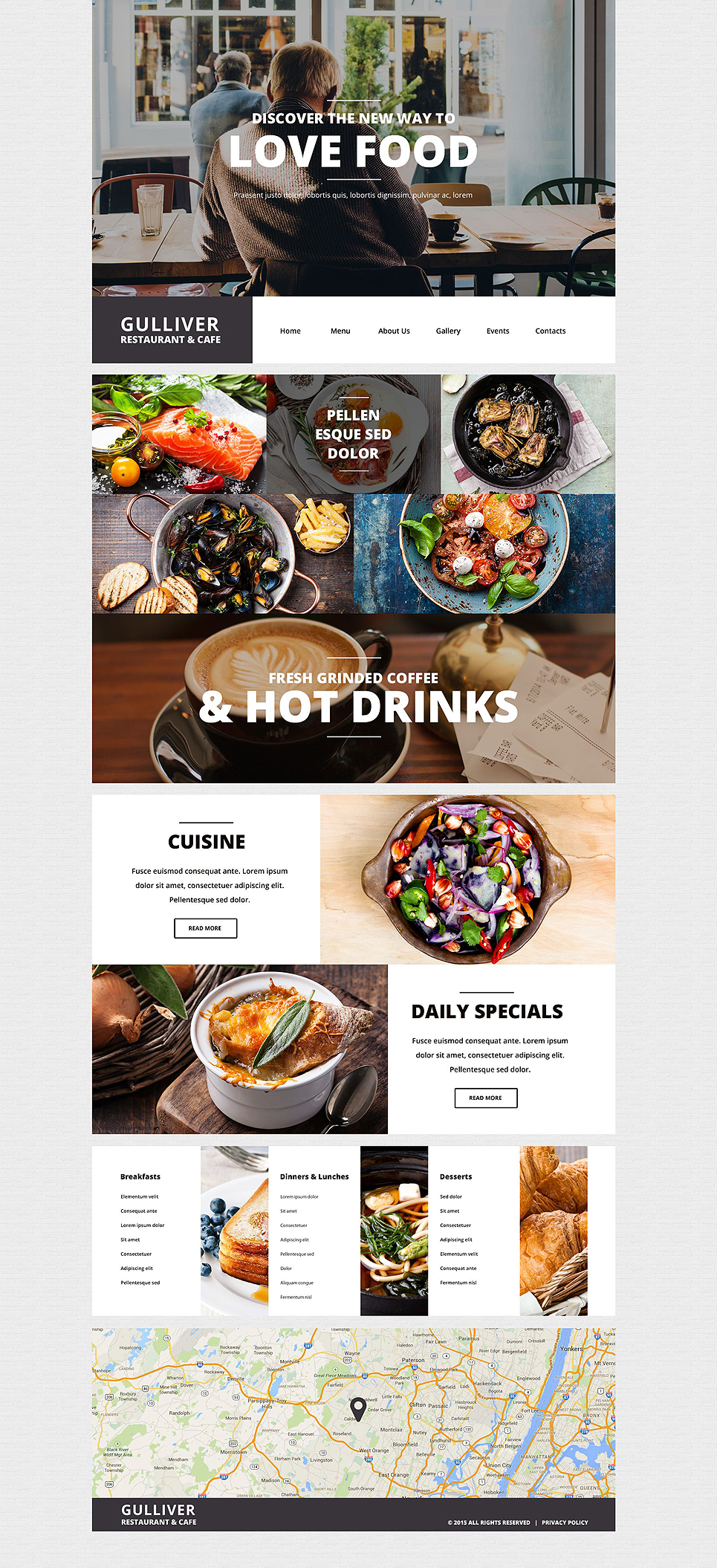 Gulliver Modern Cafe and Restaurant WordPress Theme
