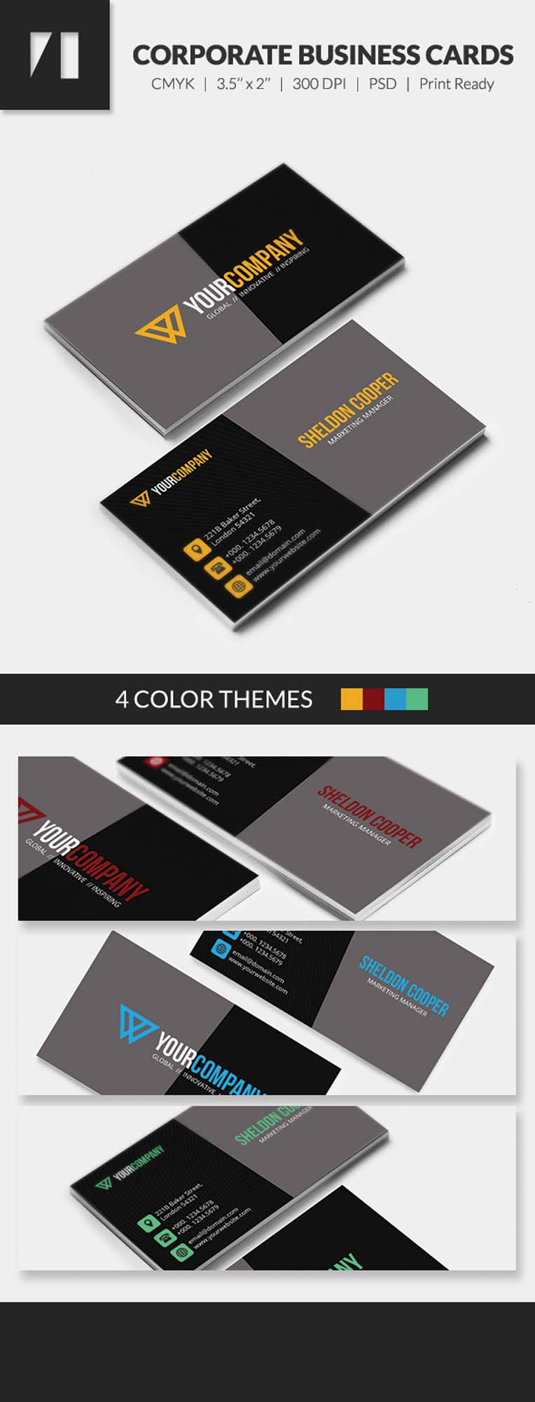 Free PSD - Corporate Business Cards - Dark