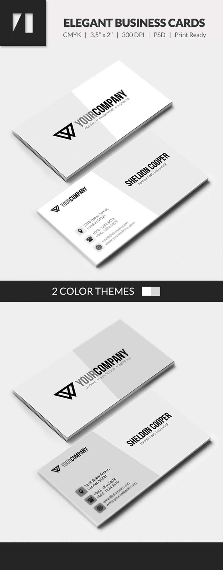 Free PSD - Corporate Business Cards - Light