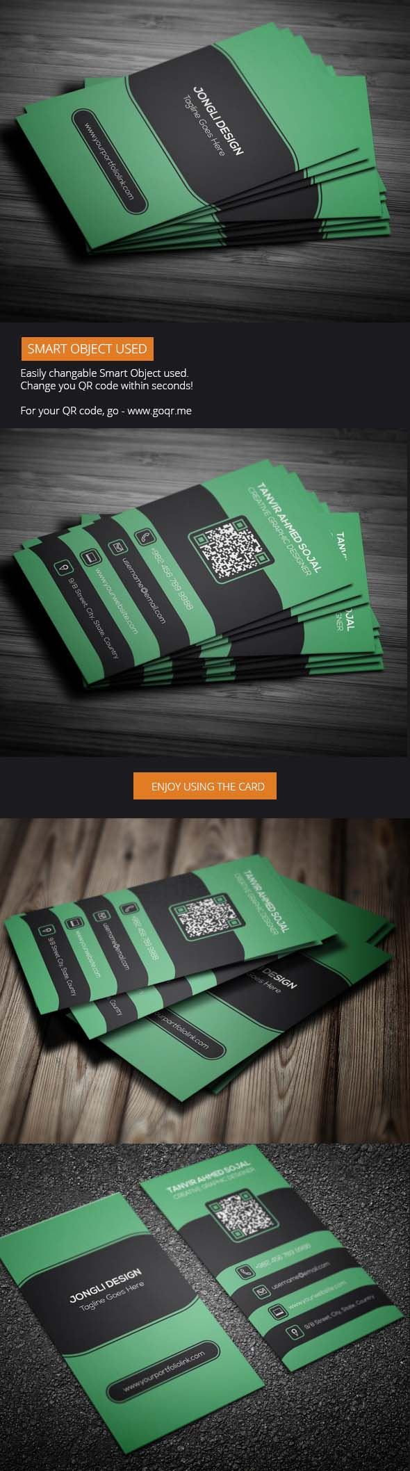 Green Corporate Business Card Template Photoshop (Freebie)