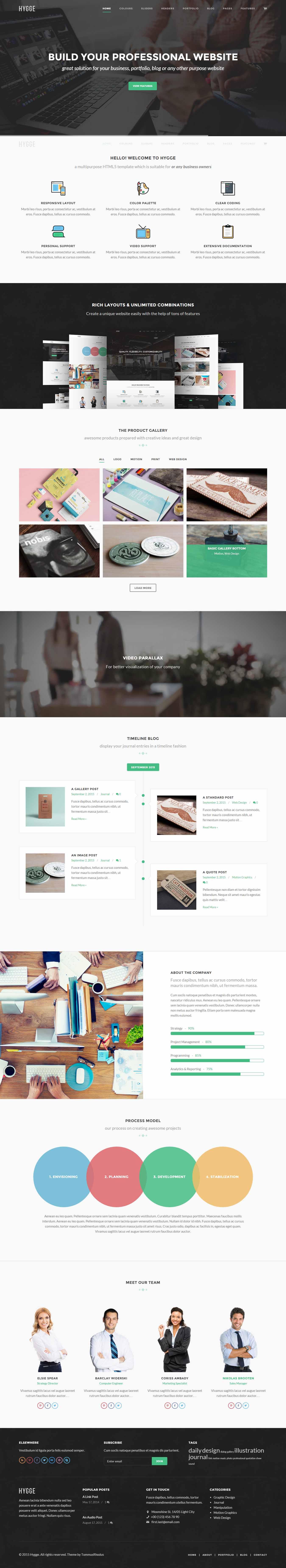 hygge flat and responsive wordpress theme