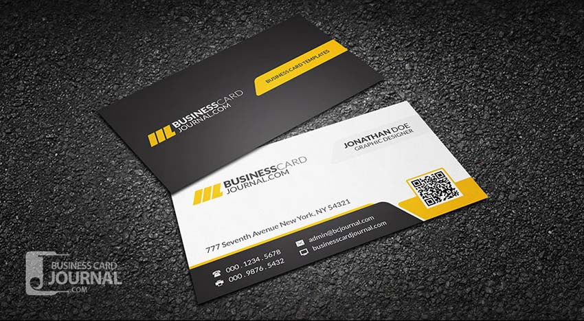 Yellow Corporate Professional QR Code Business Card Template