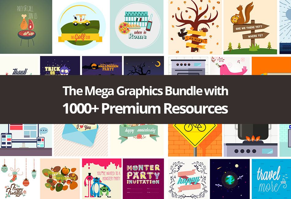 The Mega Graphics Bundle with 1000+ Premium Resources