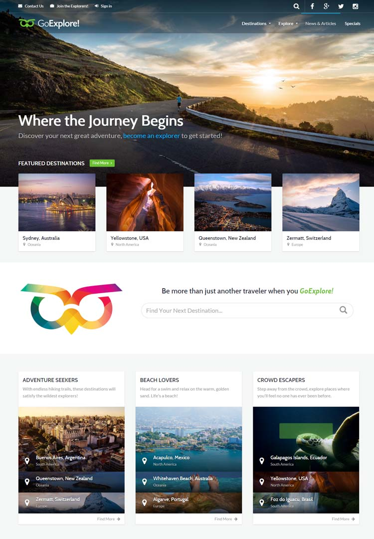 GoExplore Travel Website Template