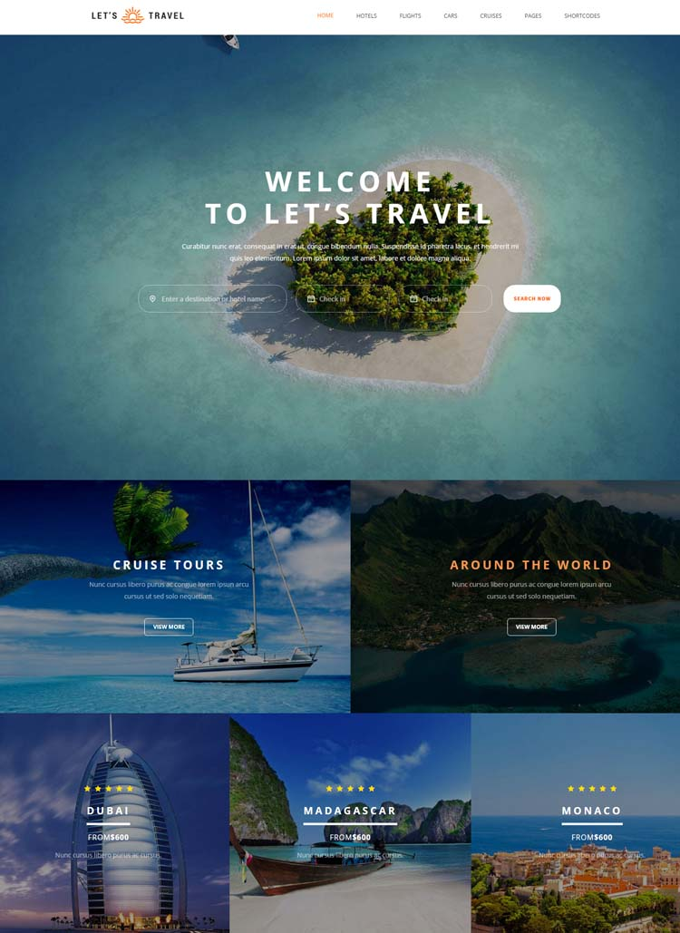 Lets Travel - Responsive Travel Booking Site Template