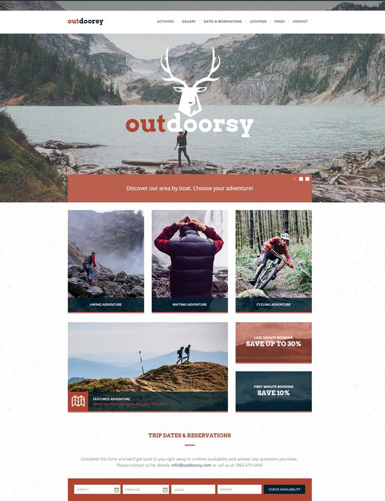 Outdoorsy - Adventure Tours and Travel HTML Template
