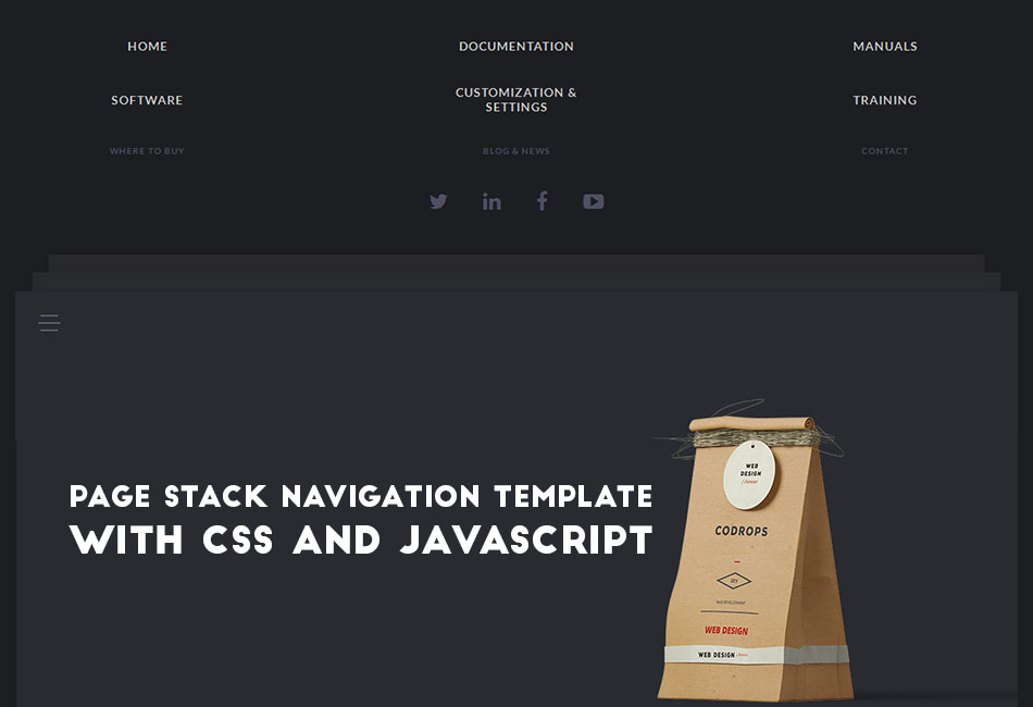 Page Stack Navigation Template with CSS and JavaScript