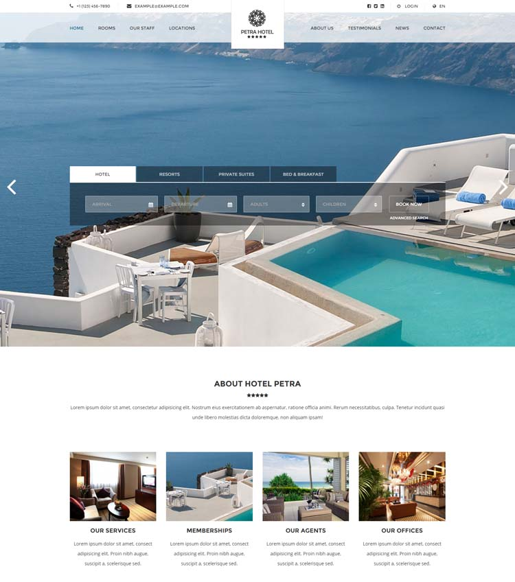 10 best hotel website templates for hotel and travel for Website that allows you to design a room