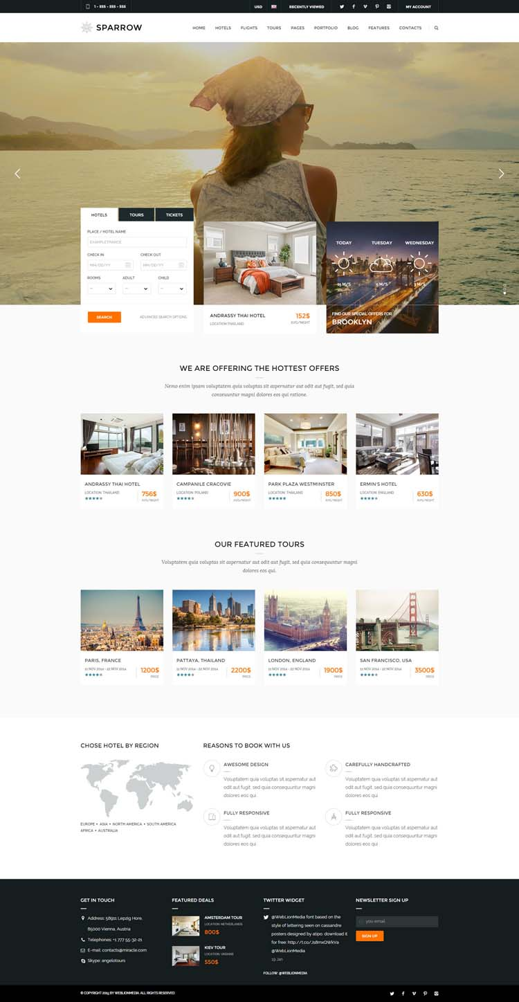 Sparrow - Responsive Travel Online Booking Template