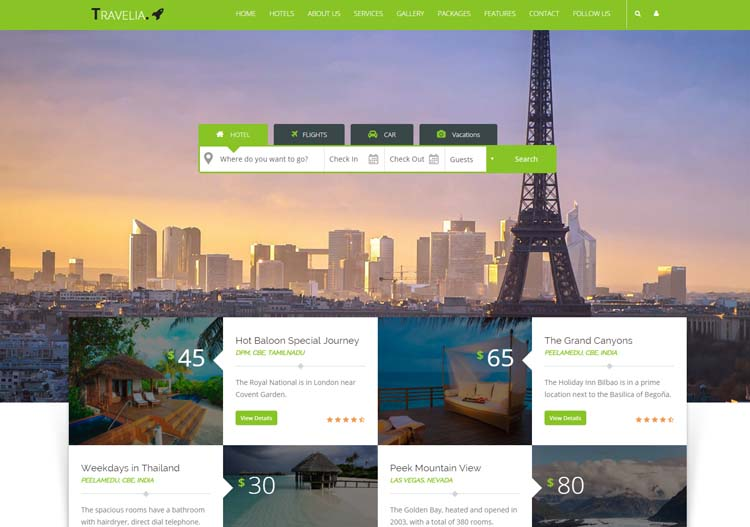 TRAVELIA - Travel Hotel Website Templates