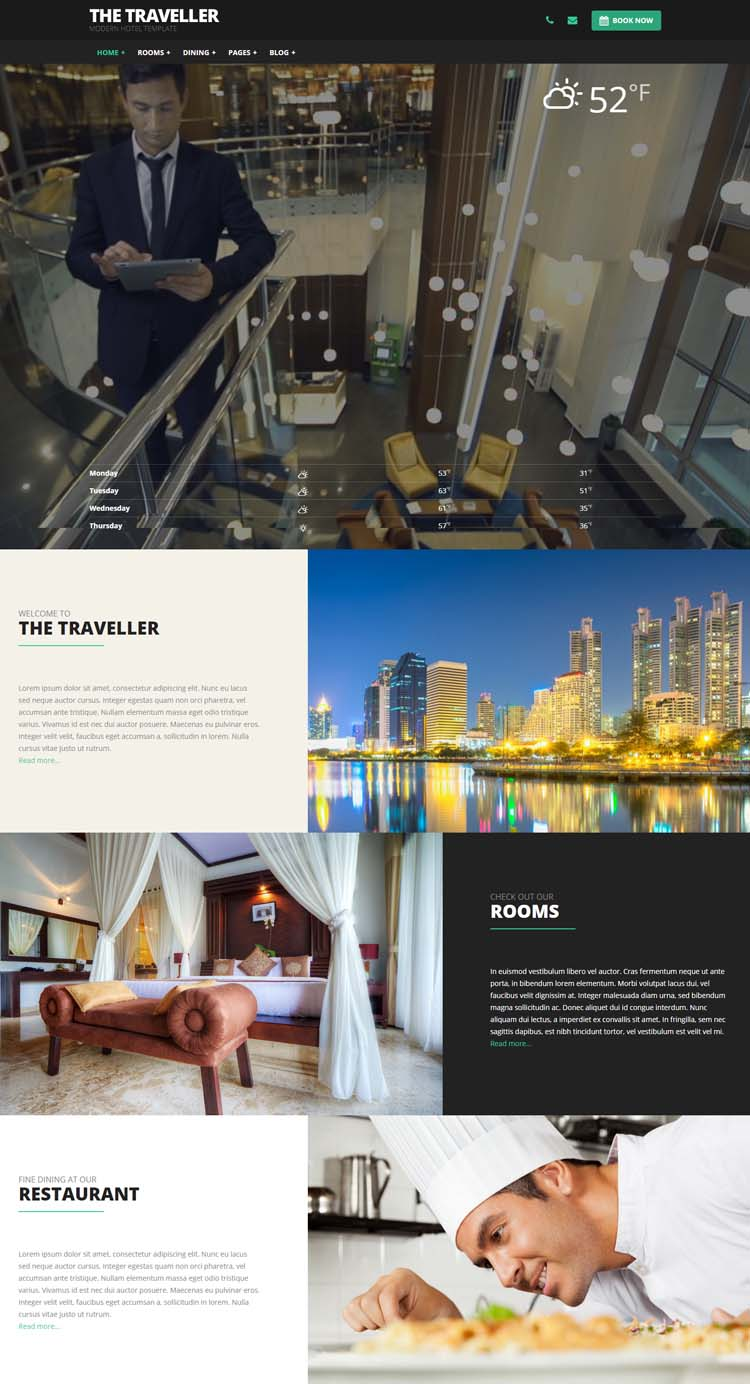 The Traveller - Hotel Website Templates