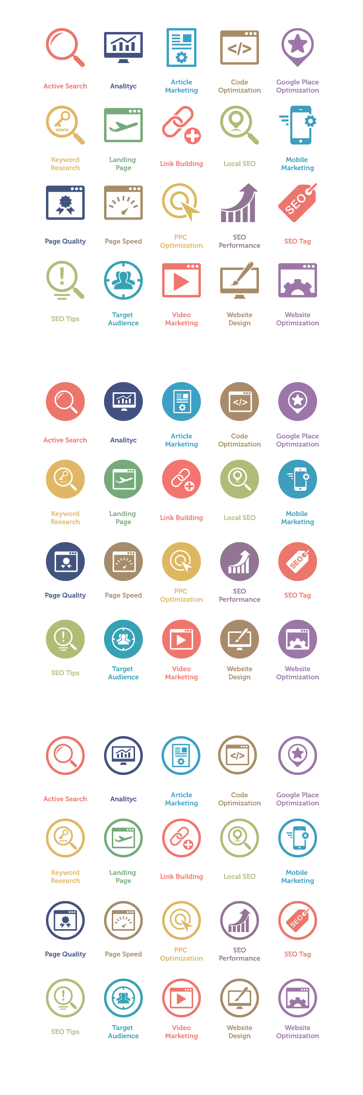 160 Free SEO and Internet Marketing Icons