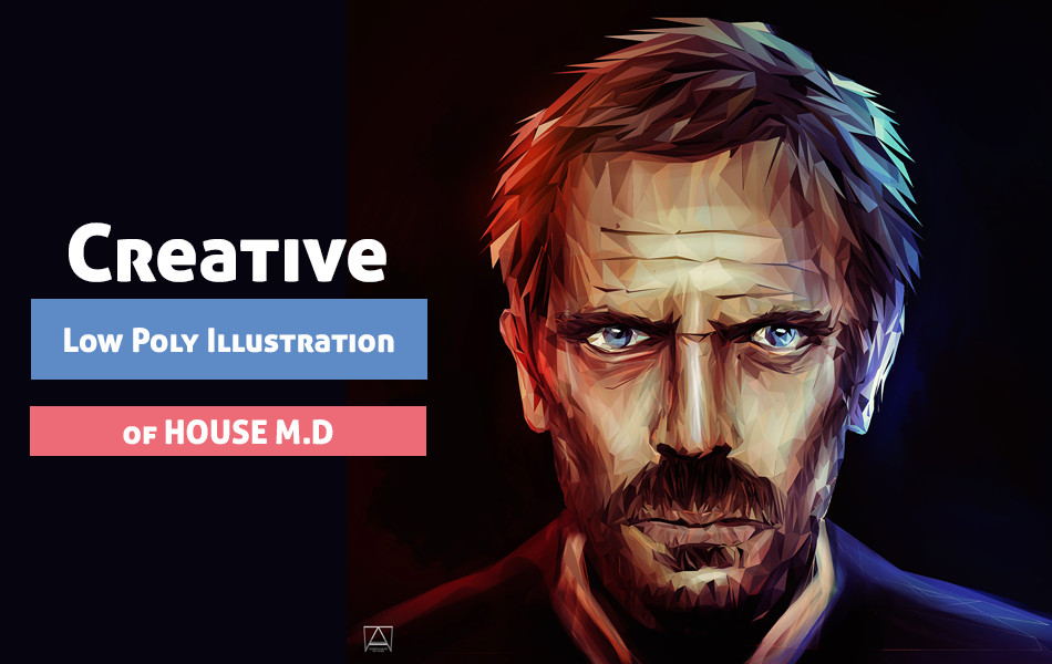 Creative Low Poly Illustration of HOUSE M.D