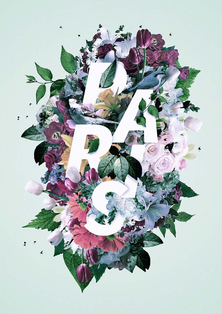 Floral Typography Designs Blend with Flowers