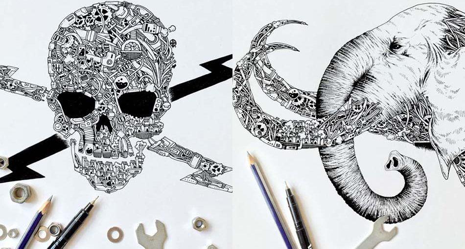 Black Pen Doodles with Steampunk Twist
