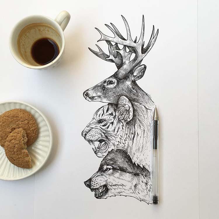 Wonderful Black Pen Illustrations