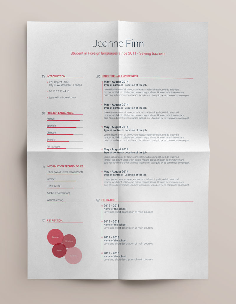 Clean Resume Templates  Clean Resume Templates