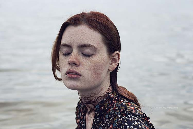 Stunning Freckled Redhead Portrait Photo