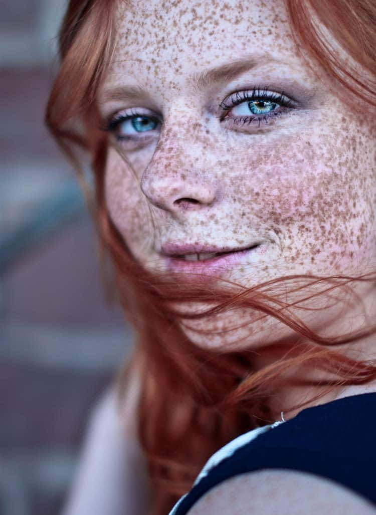 Attractive Freckled Redhead Portrait Photo