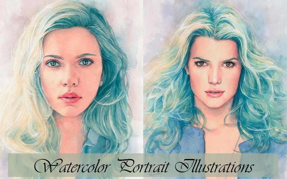 Watercolor Portrait Illustrations
