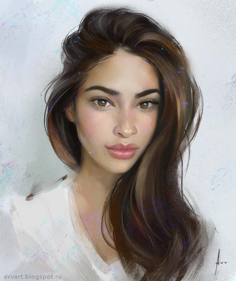 Beautiful Girls Portraits Illustration