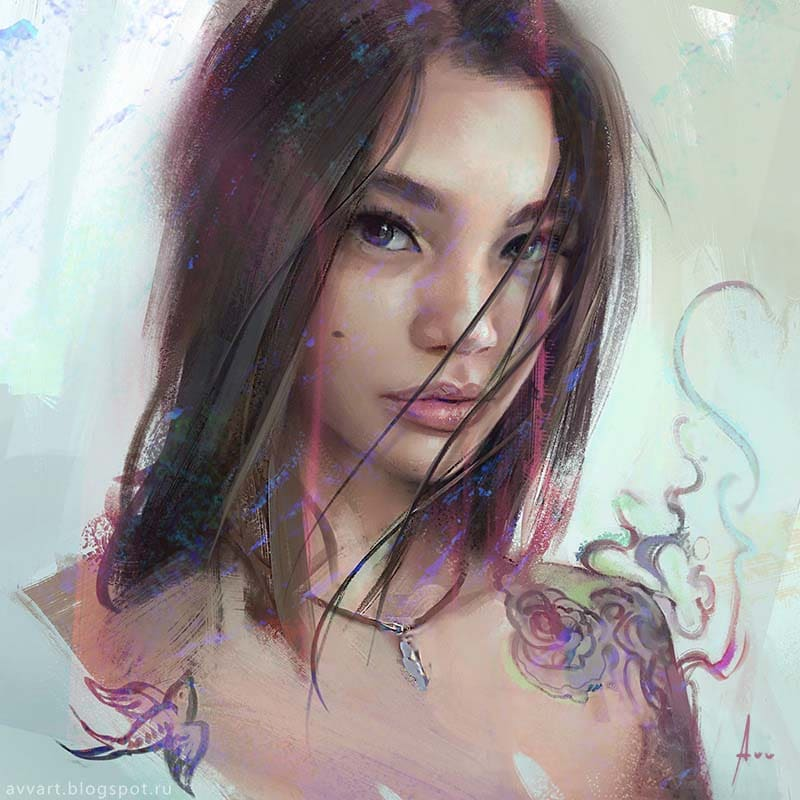 Attractive Girls Portraits Illustration