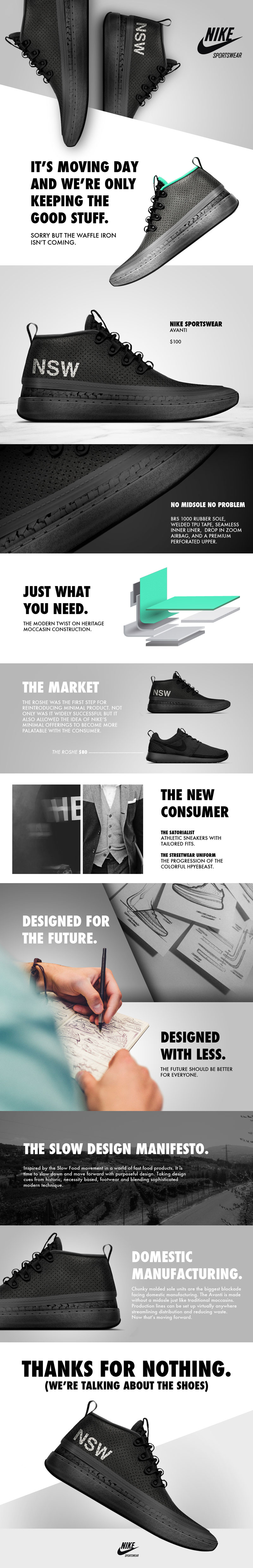 Nike AVANTI Product Web Design for Inspiration