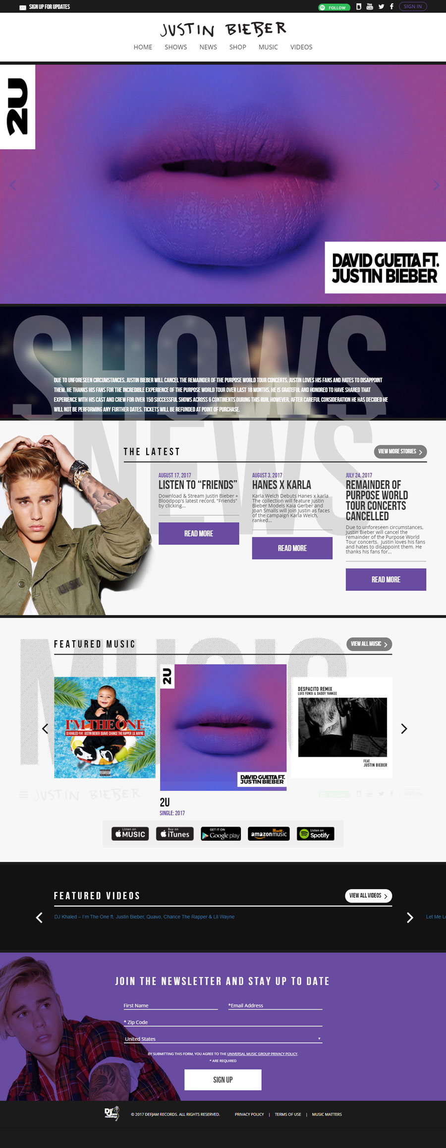Justin Bieber Singer Celebrity Website Design