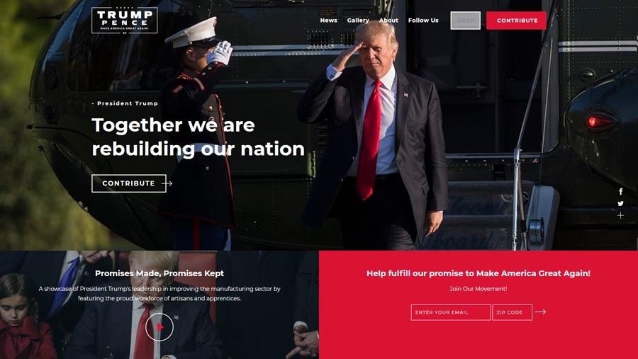 Donald Trump United States President Website Design
