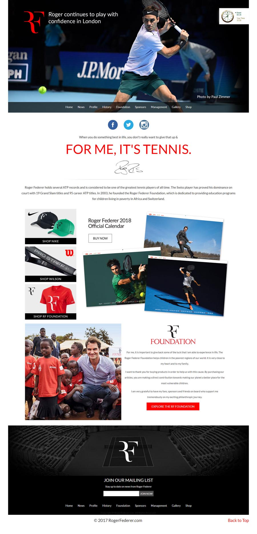 Roger Federer Tennis Player Celebrity Website Design