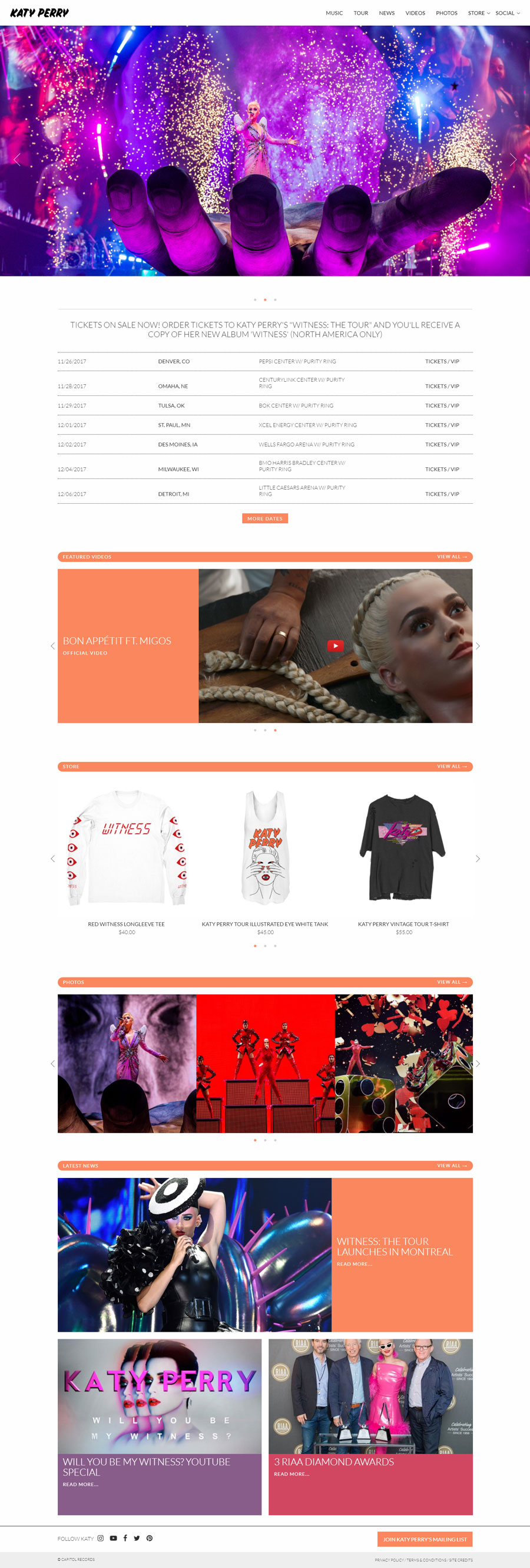 Katy Perry American Singer Website Design