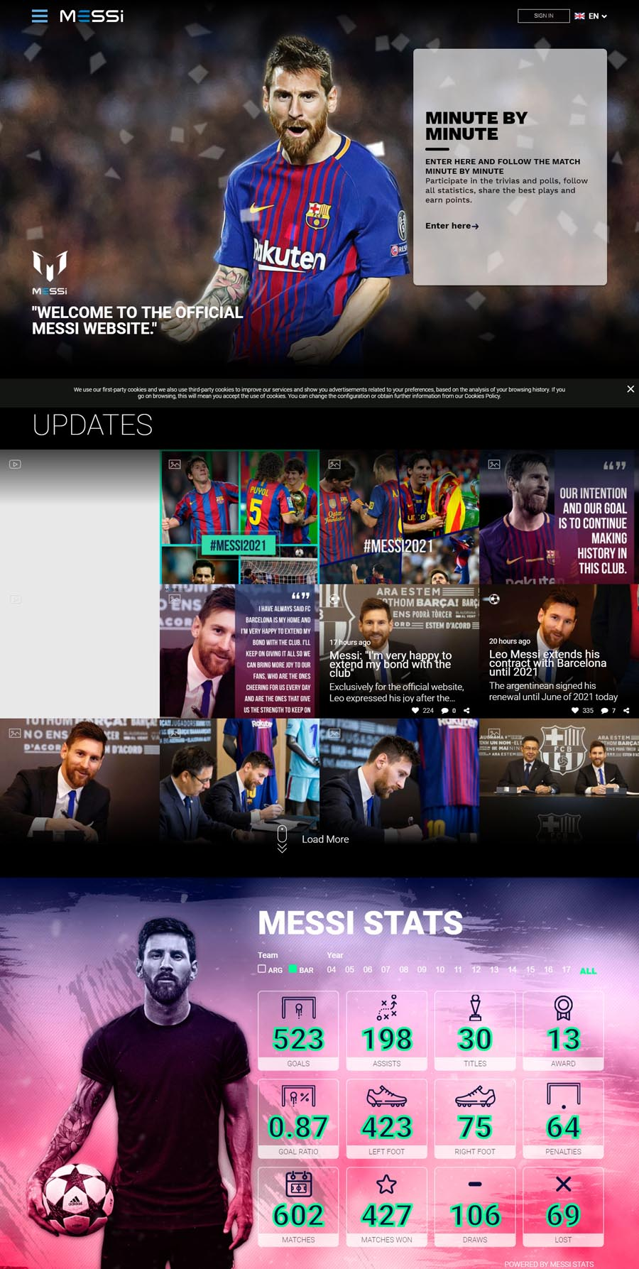 Lionel Messi Footballer Celebrity Website Design