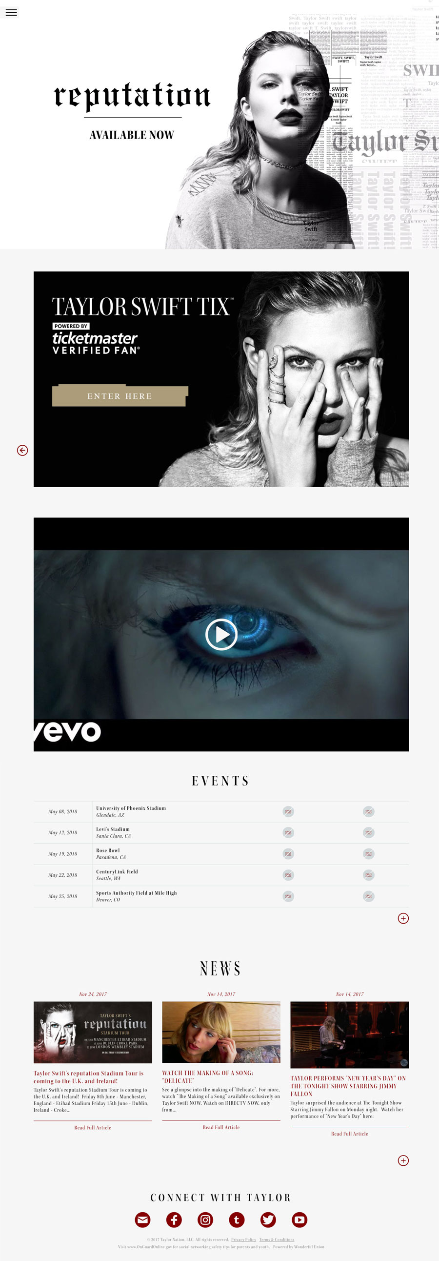Taylor Swift American Singer Celebrity Website Design