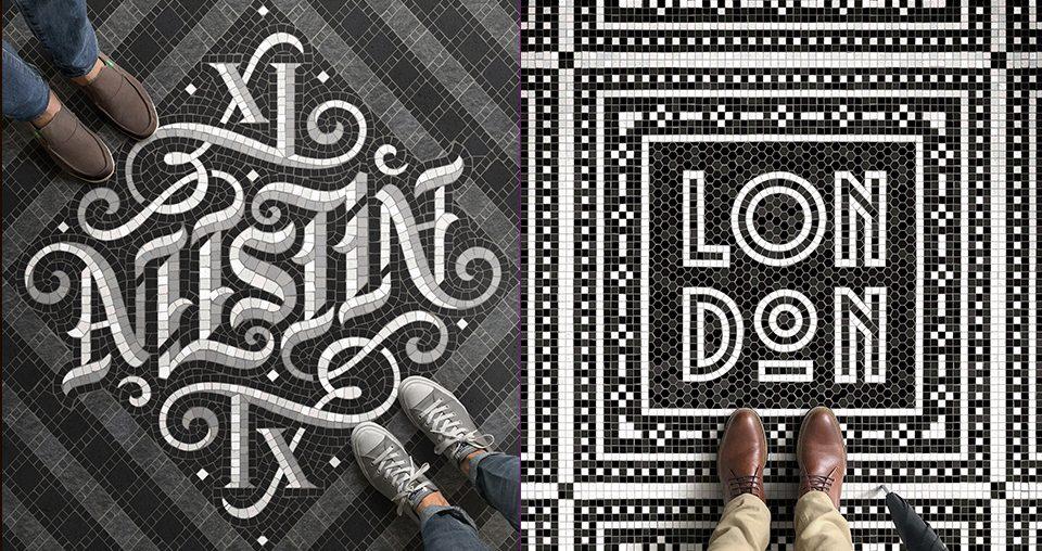 Typographic Mosaic Illustrations