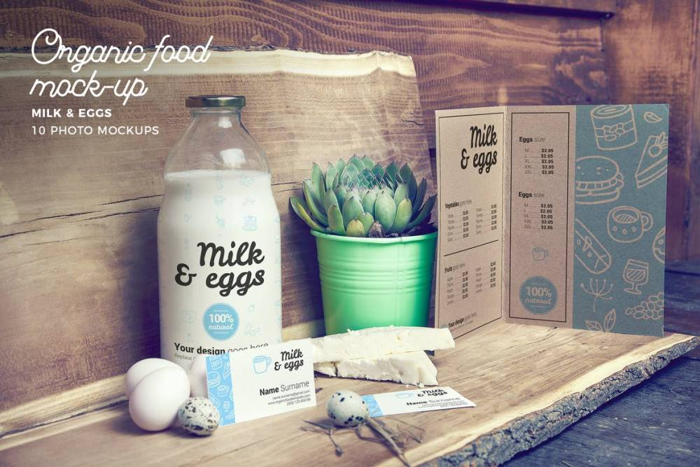 Organic Food Milk & Eggs Mockup