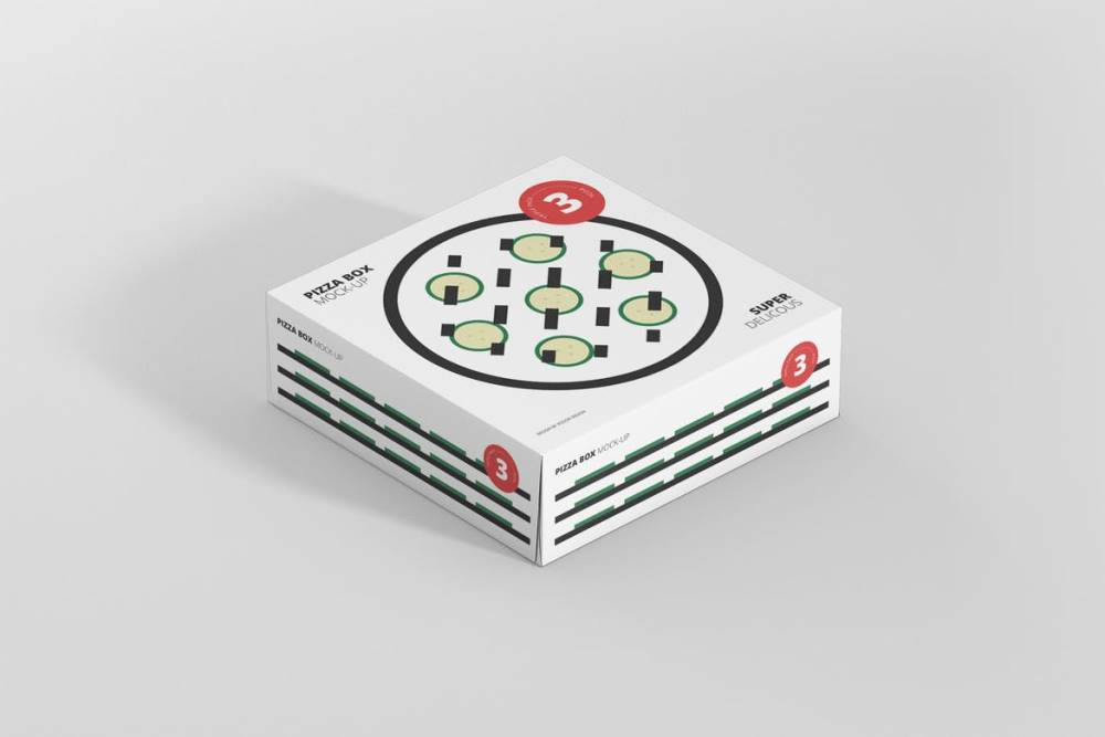 Triple Pack Pizza Box Mockup