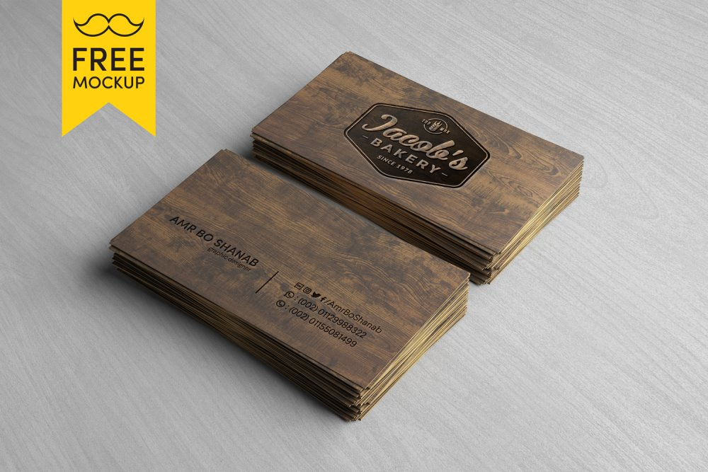 Free wooden business card mockup psd reheart Image collections