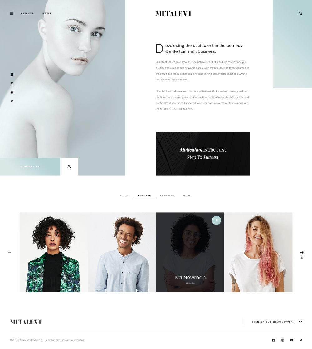 MI Talent - Free Website PSD Template for Agencies
